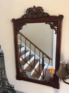 "Mirror -ornate carved wooden frame-43"" x 27"""
