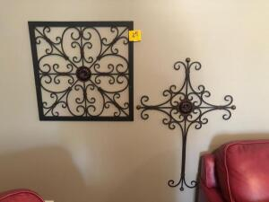"2 decorative metal wall hanging pieces - 22"" x 22"" - 32"" x 22"""