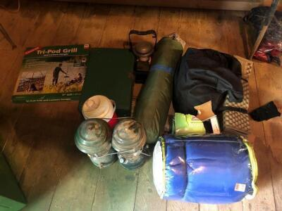 LOT OF CAMPING ITEMS, LATERNS, TRIPOD GRILL, SLEEPING BAG, ETC.