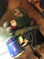 LOT OF CAMPING ITEMS, LATERNS, TRIPOD GRILL, SLEEPING BAG, ETC. - 2