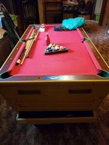 Vintage 4' x 6' pool table. - slate - 4 bolts remove base for easy removal. Coin operation removed - original set of balls and new set - cover