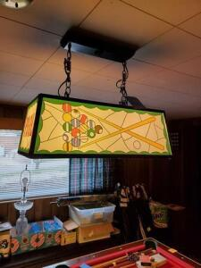 Pool table light - glass shade - please gently remove