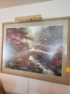 "Thomas Kinkaid lithograph - 2397/3850 - matted and framed - lighted - 31"" x 49"""