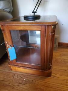 "Lighted wooden curio end table - 21"" d x 21"" h x 20"" w - lamp not included"