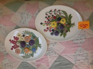 (2) ceramic Plates With Floral Design Through The Center - wall hangings