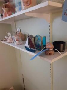 Shelf Of Various Items - unicorn - small baskets - shells etc.