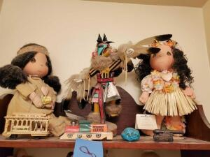 Precious moments Hawaiian doll - precious moments native American doll - eagle dancer wooden figurine - misc. items
