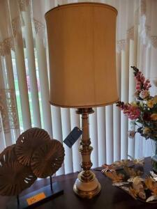 "Brass and white glass table lamp - 40"" h - vintage"
