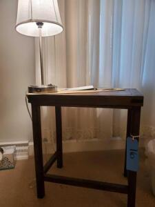 "Small wooden table - 13"" d x 19"" h x 21"" w - desk lamp with usb port in base"