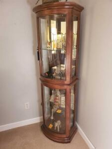 "Curved glass front curio - 14"" d x 79"" h x 20"" w - contents not included"