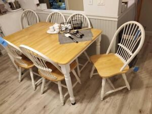 "Kitchen wooden table and 6 spinel back chairs - with hidden leaf - table as shown 35""d x 53"" w - 12"" leaf"