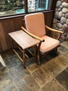 "Wooden outdoor furniture (single chair, 3 Cushion chair and 2 tables) sofa is 29""x30""x63"", chair is 29""x30""x22"", table is 25""x21""x13""; other table is 29""x18""x18"""