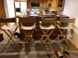 4 folding director chairs