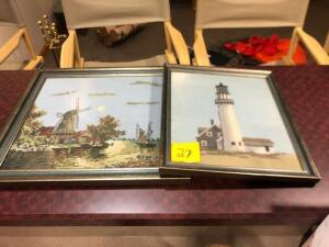2 lighthouse framed pictures