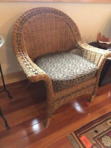 2 wicker wired chairs
