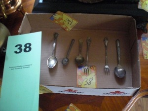 Tray of spoons in nickel, sterling, plate silver