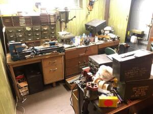 "Huge Lot - gunsmithing and reloading equipment Includes: Atlas Clausing 6"" lathe with accessories - New Hermes engraver, machinist toolboxes loaded with taps, drill kits, measuring and gauges, reamers, Craftsman drill press, Craftsman belt/disc sander, be"