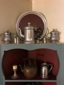 lot of pewter cups, candle holder, teapot and etc.