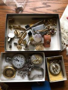 lot of antique pocket watches and men's accessories