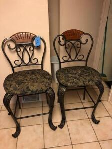 pair of padded and upholstered stools
