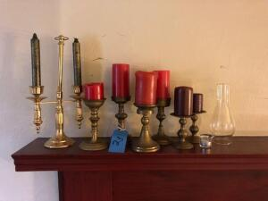 lot of brass candle sticks