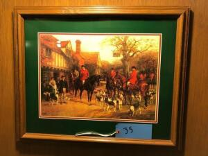 framed and matted painting of hound hunt on horseback