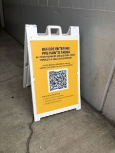 Before entering PPG Paints Arena you will need to scan this QR Code on your phone and answer the questionnaire, get a temperature check, and receive a pass from the security desk.