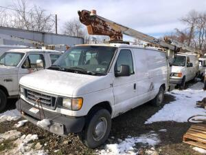 2003 Ford work van with arm lift boom - VIN: 1ftse34L43ha18622 meter reads 164,095 miles