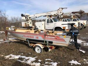 Alumacraft classic 16 boat with trailer - 9.8 mercury engine - bill of sale only