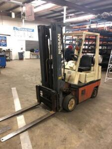 Nissan propane forklift - 3 stage mast - model: KCPH01A15PV - truck weight 6414lbs - reserved until friday for load out