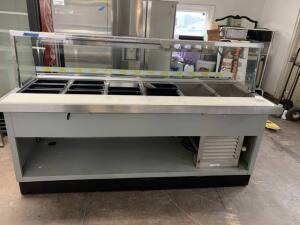 "Subway style sandwich prep unit good condition - 84"" L x 36"" D x 55"" H with glass shield"