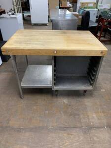 "Butcher Block Table good condition - 45"" W x 30.5"" D x 34"" H"