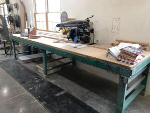 The Original Radial Arm Saw - work spot light - with 14ft 6in table that has power outlets