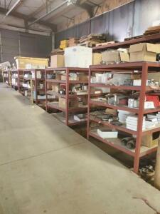 "6 shelf units of truck parts - shelves not included - brass and stainless valves -- 1/4"" to 1/2"" - 15# flanges - weld elbows - emergency vents for tankers - manhole parts - tank truck valves (some air some manual) - gauges- wells fittings(steel aluminum)"