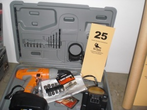 "Chicago 1/2"" 19.2 volt cordless drill with accessories, nut drivers, (like new)"