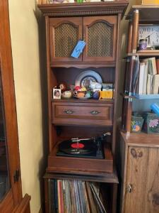 "Upright built -  record player/stereo Stand- General Electric - 14"" h x 66""h  x 23""w -contents not included"