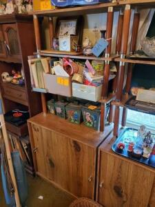 "Wooden stand - shelves and cabinet - 15"" d x 66"" h x 29"" w - contents not included - needs minor repair"