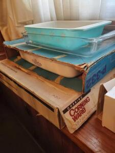 Corning ware and Pyrex baking dishes