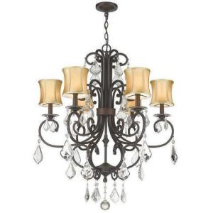 "Siret lighting - Nib - 6 light Chandelier with stretch fabric shades & crystals - 34"" H x 28""w - 5 ft. chain"
