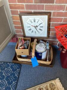 Lot of paint supplies. Clock 13' and tray - basket