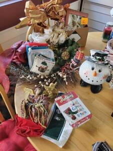 Lot of Christmas items - wreaths - angels - snowman etc.