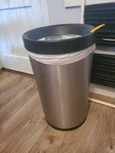 "Stainless trash can - 24"" h"