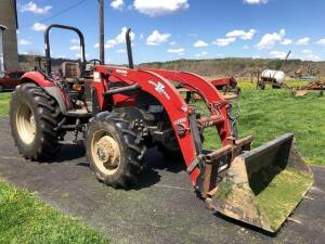 Case JX80 Tractor with Woods LU132 front loader - bucket and farm forks - *ONLY  665 hours* - reserved to help load out