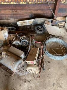 Lot of electric motors and wire spool