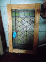 "Stain glass window, framed (41.5"" H x 25"" w)"