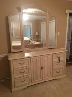 "Dimensions: Dresser with mirror, Excellent condition •66"" x 20"" x 34""(dresser), •58"" x 50"" (trifold mirror)"