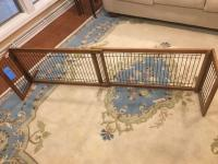 "Wooden framed, adjustable dog gate, fully extended dimensions: 71""W x 14""h (approx)"