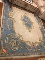 "Decorative area rug, blue and cream color, excellent condition Dimensions: 104"" x 137"""