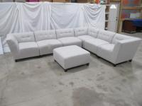 "7 Piece: sectional couch, light grey, (3) middles 33"" x 35""d, (3) corners 37"" x 35""d, (1) ottoman (assorted configurations can be made)"