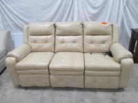 "Leather reclining power sofa, cream colored, dimensions: 75"" x 34"" x 40"""